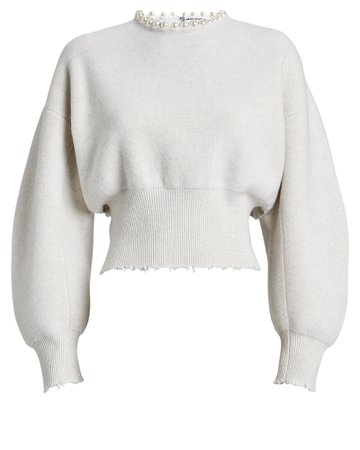 Alexander Wang | Pearl Necklace Wool-Cashmere Sweater | INTERMIX®
