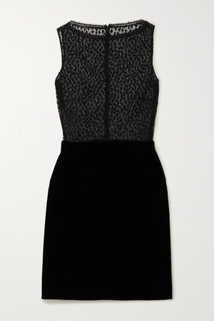 Cotton-blend Lace And Velvet Mini Dress - Black
