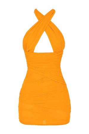 Clothing : Bodycon Dresses : Mistress Rocks 'Over It' Orange Gathered Mesh Halter Neck Mini Dress