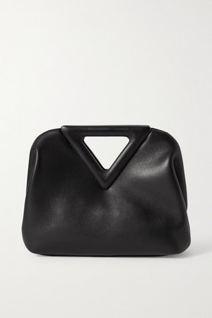 Triangle Small Leather Tote - Black
