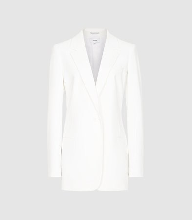 Mia White Fluid Single Breasted Blazer – REISS