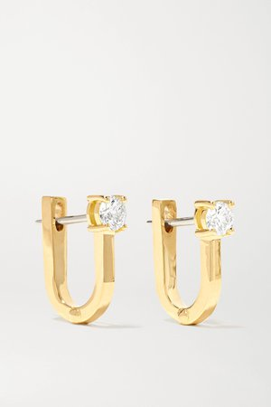 Gold Aria U Huggie 18-karat gold diamond earrings | Melissa Kaye | NET-A-PORTER