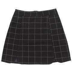grid mini skirt