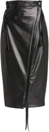 UNTTLD Nikita Zip-Detailed Leather Midi Skirt