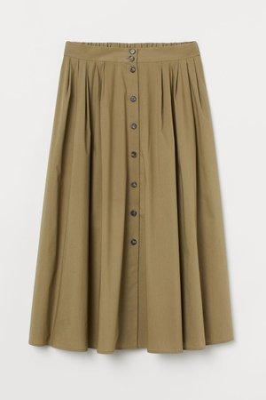 Button-front Cotton Skirt - Khaki green - Ladies   H&M US