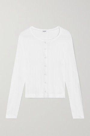 Pointelle-knit Cotton-jersey Cardigan - White