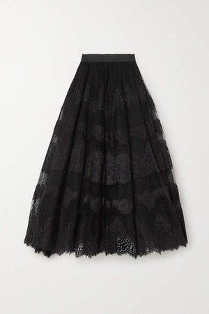 Embroidered Appliqued Tulle Maxi Skirt - Black