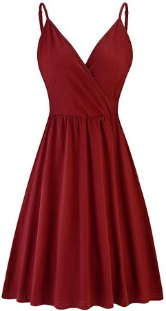 STYLEWORD Women's V Neck Spaghetti Strap Summer Casual Swing Dress with Pocket