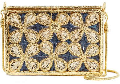 Magnetic Midnight - Flores Woven Palm Leaf And Gold-plated Shoulder Bag - Midnight blue