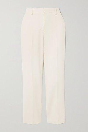 Cropped Crepe Flared Pants - Ecru
