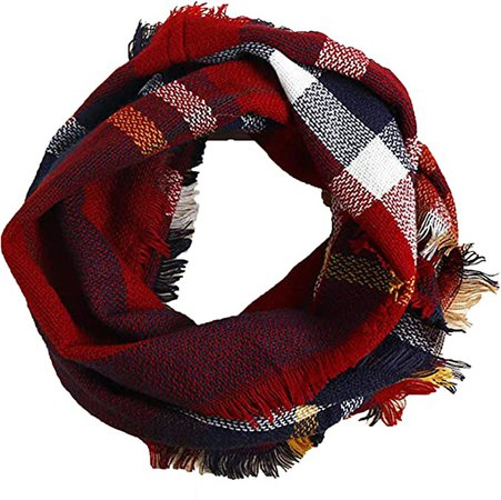 Wander Agio Womens Winter Head Hair Wraps Circle Scarves Warm Plaid Scarf Wine Red 16 at Amazon Women's Clothing store