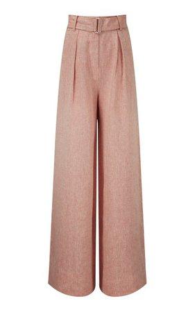 Pleated Linen Wide-Leg Pants By Matthew Bruch | Moda Operandi