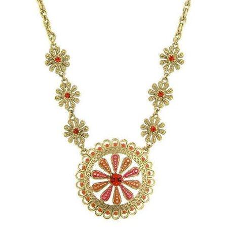 Gold-Tone Orange and Coral Enamel Flower Pendant Necklace