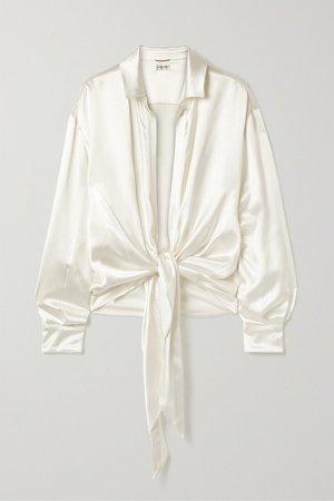 Ivory Tie-front silk-satin blouse   SAINT LAURENT   NET-A-PORTER