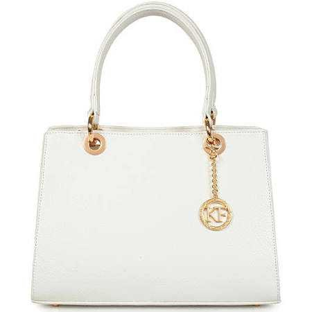 KaterinaFoxBags Leather Top Handle Bag, White Leather Handbag Top Handle, Women's Leather Bag KF-1042