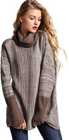 SweatyRocks Women's Loose Knitted Turtleneck Long Sleeve Pullover Sweater Jumper Brown M at Amazon Women's Clothing store