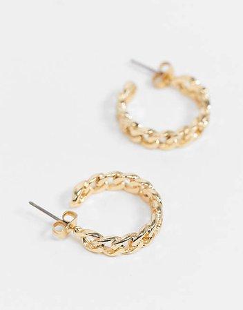 Pieces chain hoop earrings in gold | ASOS