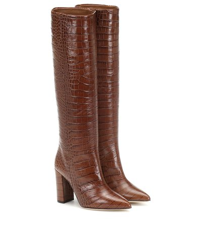 Croc-Effect Leather Boots - Paris Texas | Mytheresa