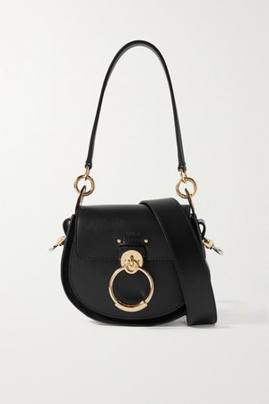Tess Small Leather And Suede Shoulder Bag - Black