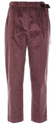 Cropped Cotton And Cashmere-blend Corduroy Tapered Pants