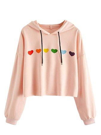Crop Sweatshirt Heart Print Long Sleeve Drawstring Crop Top Hoodies Pink-2 XL at Amazon Women's Clothing store
