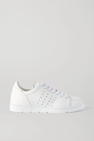 Textured-leather Sneakers - White