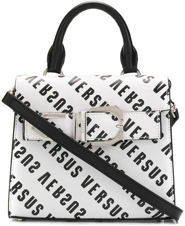 logo printed buckle trimmed clutch