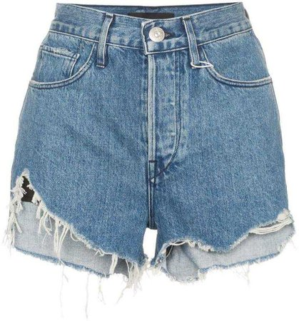 3x1 Carter high-rise frayed denim shorts