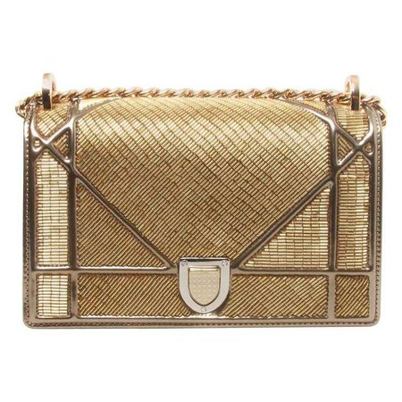 Dior Cruise 2016 Gold Embellished Diorama Bag For Sale at 1stdibs