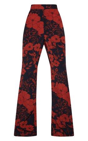 Multi Floral Print Wide Leg Trouser | PrettyLittleThing