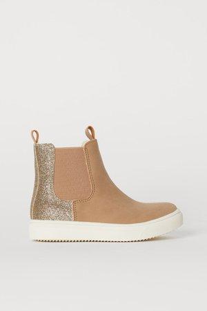 Warm-lined Chelsea boots - Beige/Glitter - Kids   H&M GB