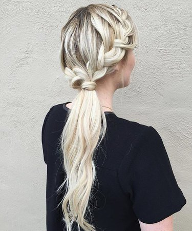platnium blonde hair ponytail braid - Google Search