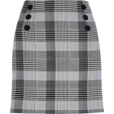 Cream check print front button mini skirt | River Island