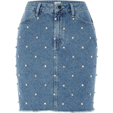 Mid blue stud embellished denim mini skirt - Mini Skirts - Skirts - women
