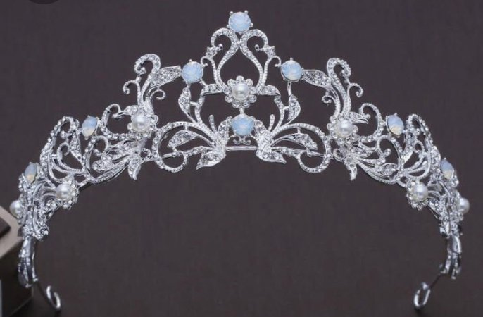 sliver and blue crown