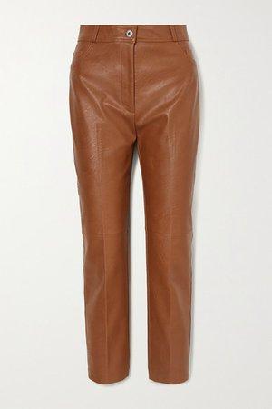 Vegetarian Leather Straight-leg Pants - Light brown