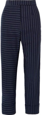 Pinstriped Cotton Slim-leg Pants - Navy