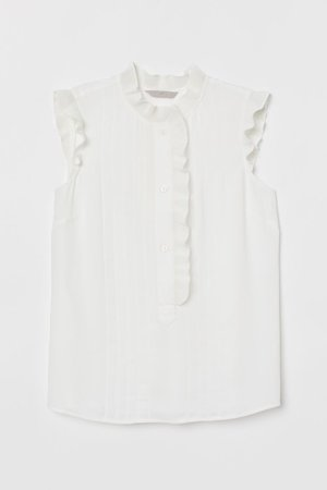Pleated Blouse - White - | H&M CA
