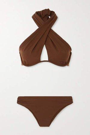 Cutout Underwired Halterneck Bikini - Brown