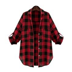 Pinterest - Lapel Checks Plaid Buttons Blouse ($25) ❤ liked on Polyvore featuring tops, blouses, shirts, flannel, coats, red flannel shirt, | My polyvore