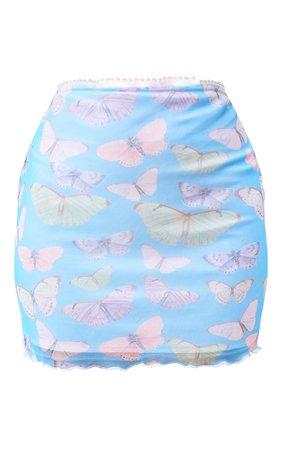 Blue Butterfly Print Mesh Lettuce Hem Skirt | PrettyLittleThing USA