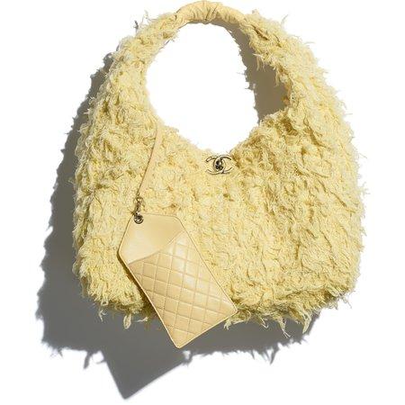 Tweed, Calfskin & Gold-Tone Metal Yellow Large Hobo Bag | CHANEL
