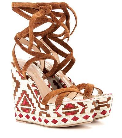 Cheyenne Wedge suede sandals