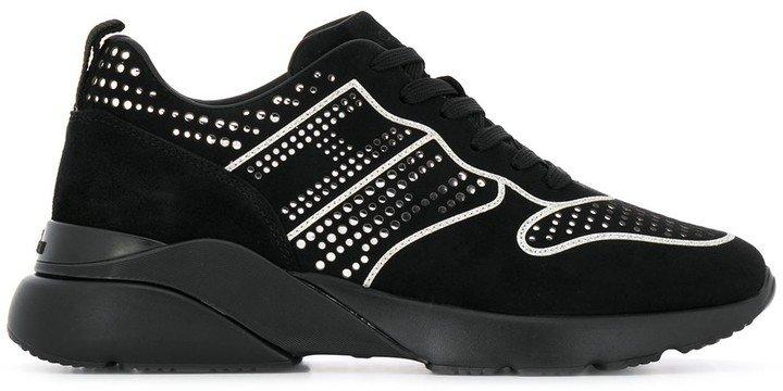 Silver-Tone Stud Detail Sneakers