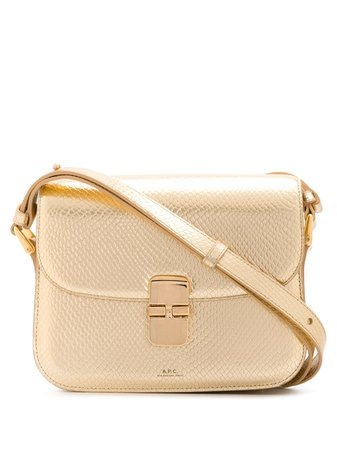 Gold A.P.C. metallic leather shoulder bag PXBNZF61413 - Farfetch