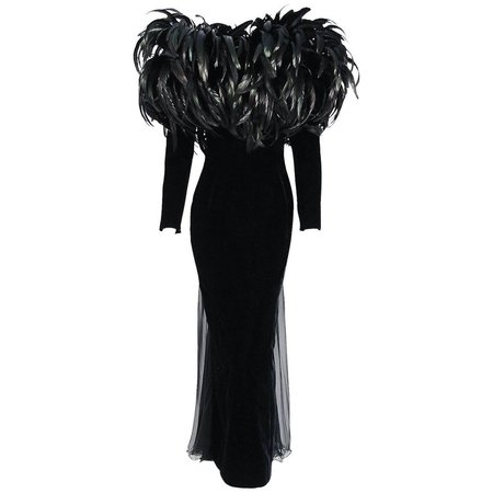 1990 Christian Dior Haute-Couture Black Velvet Feather Hourglass Fishtail Gown For Sale at 1stdibs