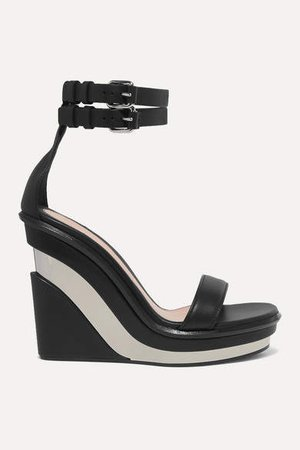 Buckled Leather Wedge Sandals - Black