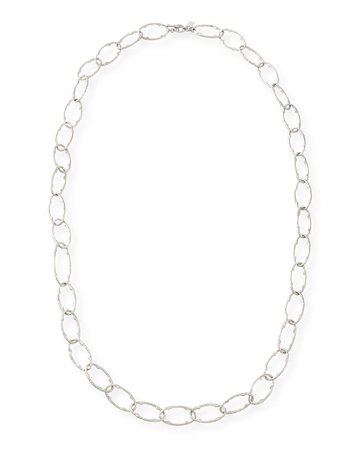 """Armenta New World 30"""" Silver Pointed Oval Link Necklace"""