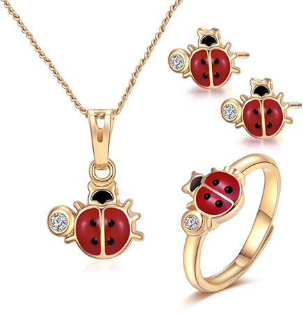"""Amazon.com: Ladybug Pendant Necklace for Advent Gift, Charms Christmas Gift 14k Gold-Filled Red and Black Ladybug Pendant Necklace Rings Set Jewelry For Kids,18"""" (ladybug): Clothing, Shoes & Jewelry"""