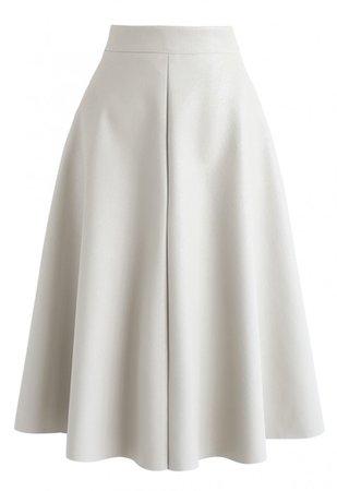 ZARA Leather A-Line Midi Skirt in Ivory